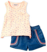 Juicy Couture Infant Girls) Two-Piece Metallic Heart Print Tank & Shorts Set