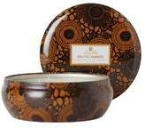 Voluspa Japonica Black 3 Wick Candle in Decorative Tin - Baltic Amber