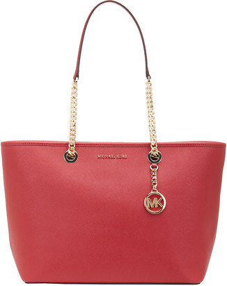 Michael Kors Totebags SCARLET - Scarlet East-West Chain Shania Large Leather Tote