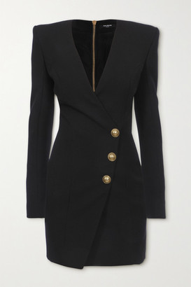 Balmain - Button-embellished Wool Mini Wrap Dress - Black