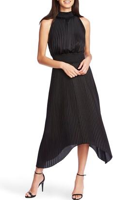 1 STATE Halter Neck Handkerchief Hem Pleated Dress