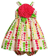 Bonnie Baby Newborn Flower-Accented Bubble-Dot Dress & Panty Set