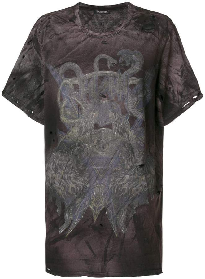 Balmain snake print distressed T-shirt
