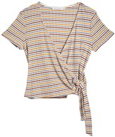 Lush Stripe Wrap Tie Hem Top