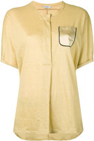 Brunello Cucinelli chest pocket shortsleeved shirt - women - Silk/Linen/Flax - L