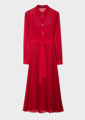Paul Smith Women's Red Midi Shirt Dress With Pleated Skirt Section