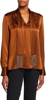 Elie Tahari Kendal Long-Sleeve Silk Blouse w/ Beaded Fringe Scarf