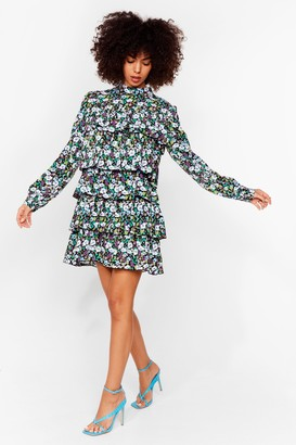 Nasty Gal Womens Always Tier For You Floral Mini Dress - Black - 4
