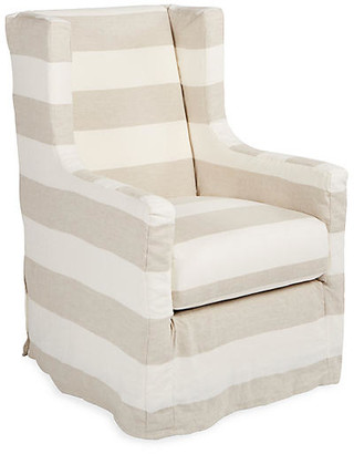 One Kings Lane Nicole Swivel Chair - Taupe/Natural Linen