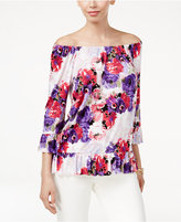 INC International Concepts Petite Floral-Print Ruffled Top, Only at Macy's
