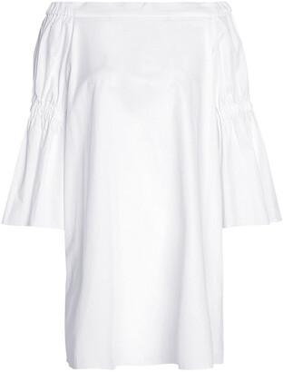 Tibi Off-the-shoulder Cotton-poplin Dress