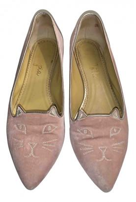 Charlotte Olympia Kitty Pink Velvet Ballet flats