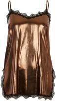 River Island Womens Gold metallic lace trim cami top