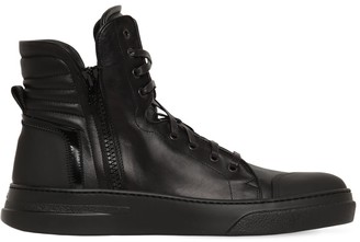 Bruno Bordese NEON HIGH-TOP LEATHER SNEAKERS W/ ZIPS