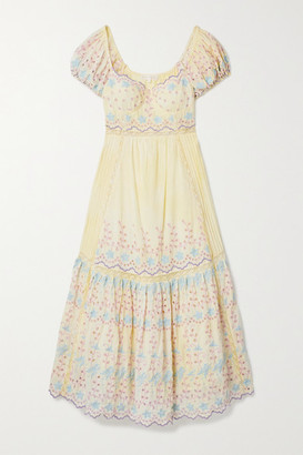 LoveShackFancy Magena Crocheted Broderie Anglaise Cotton Midi Dress - Pastel yellow