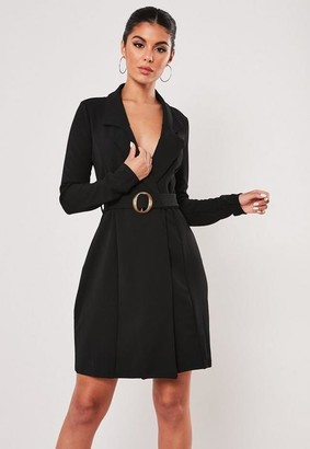 Missguided Tall Black Long Sleeve Belted Blazer Dress