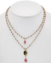 Rachel Reinhardt 14K Over Silver Labradorite & Pink Topaz Layered Necklace