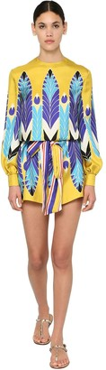 Valentino Printed Silk Twill Mini Dress