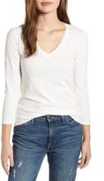 Lucky Brand Puffed Long Sleeve V-Neck T-Shirt