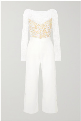 Rime Arodaky Braham Cropped Embroidered Tulle And Crepe Jumpsuit - White