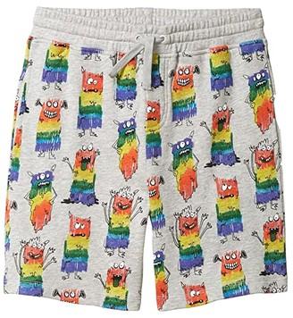 Stella McCartney Rainbow Monsters Sweatshorts (Toddler/Little Kids/Big Kids) (Grey Multi) Boy's Shorts
