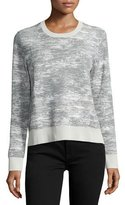 Jason Wu Long-Sleeve Abstract-Striped Pullover, Chalk/Charcoal