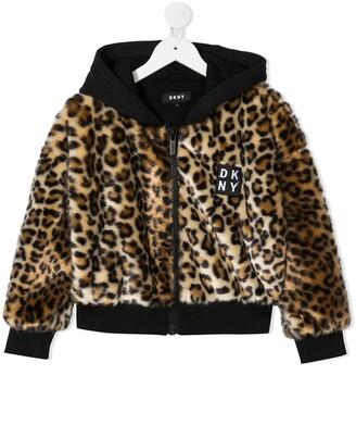 DKNY Leopard Print Faux Fur Jacket