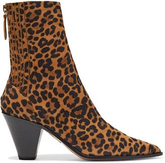 Aquazzura Saint Honore 70 Leopard-print Suede Ankle Boots