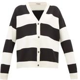Miu Miu Cat-embroidered Striped Wool Cardigan - Womens - Black White