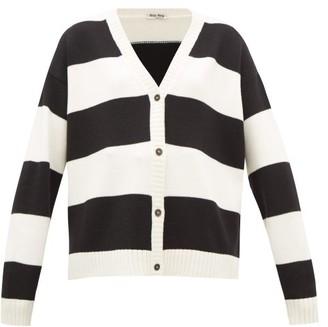 Miu Miu Cat-embroidered Striped Wool Cardigan - Black White