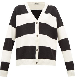 Miu Miu Cat-embroidered Striped Wool Cardigan - Womens - Black White
