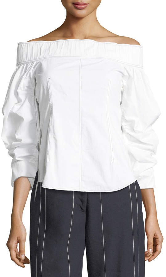 Cédric Charlier Off-the-Shoulder Long-Sleeve Cotton Top