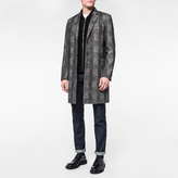 Paul Smith Men's Dark Grey Muted-Check Wool-Blend Overcoat