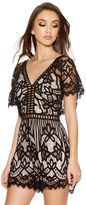 Quiz Black And Stone Lace Detail Playsuit