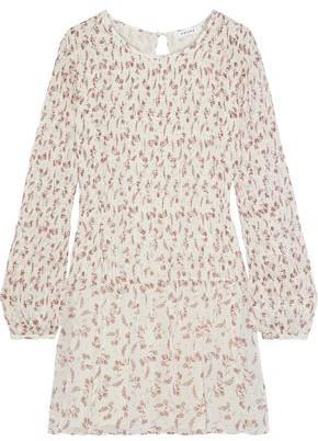 Frame Shirred Floral-print Georgette Mini Dress