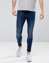 Pull&bear Super Skinny Jeans In Dark Wash Blue