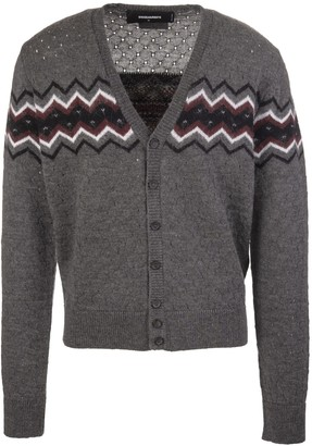 DSQUARED2 Man Grey Cardigan With Buttons And Inlay