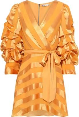 Alice + Olivia Santina Wrap-effect Striped Satin-jacquard Mini Dress