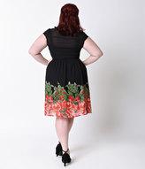 Unique Vintage Plus Size 1950s Black & Red Floral Paulette Shirt Dress
