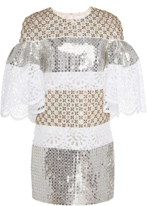 Carolina Herrera Sequined Silk-Jacquard Mini Dress