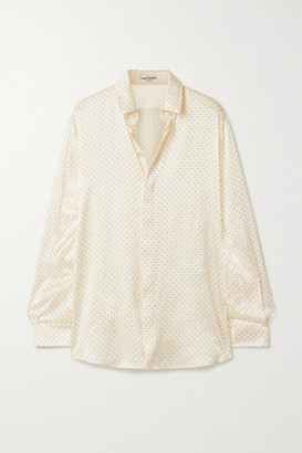 Saint Laurent Studded Silk-satin Blouse - Cream