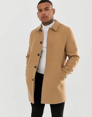 Asos Design DESIGN wool mix coat in camel-Tan