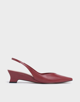 Charles & KeithCharles & Keith V-Cut Low Sculptural Heel Slingback Court Shoes