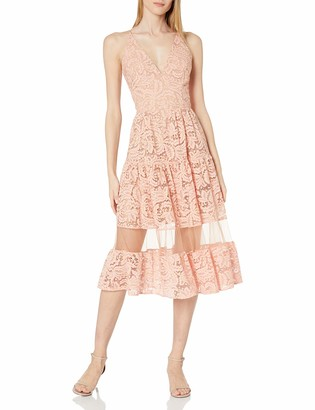 Dress the Population Summer Plunging LACE Illusion FIT & Flare MIDI Dress M
