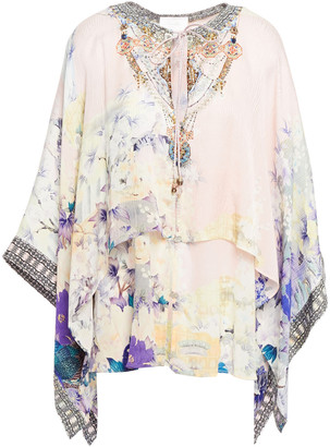 Camilla Harajuku Heiress Floral-print Silk Crepe De Chine And Satin Top