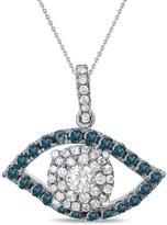 """Diamond Couture 14K White Gold 0.5ctw Diamond """"Eye"""" Pendant with 18"""" Chain"""