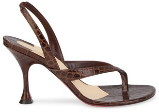 Christian Louboutin Taralita Croc-Embossed Leather Slingback Thong Sandals