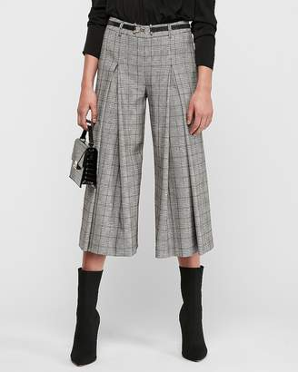 Express High Waisted Plaid Pleated Culottes