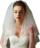 "LynnBridal 2 Layer Wedding Veil Adorned with Floral Lace 25"" Long"