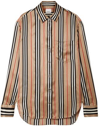 Burberry Striped Silk-satin Shirt